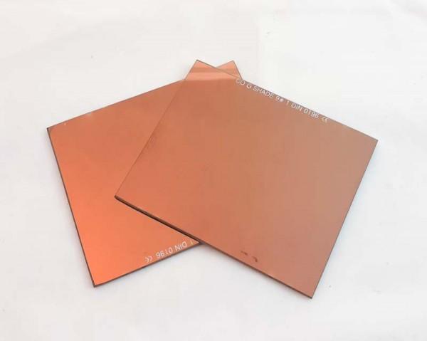 Schweißerglas 90 x 110mm DIN 12 Goldtonverspiegelt